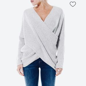 Aeon gray knit sweater draped crossover front